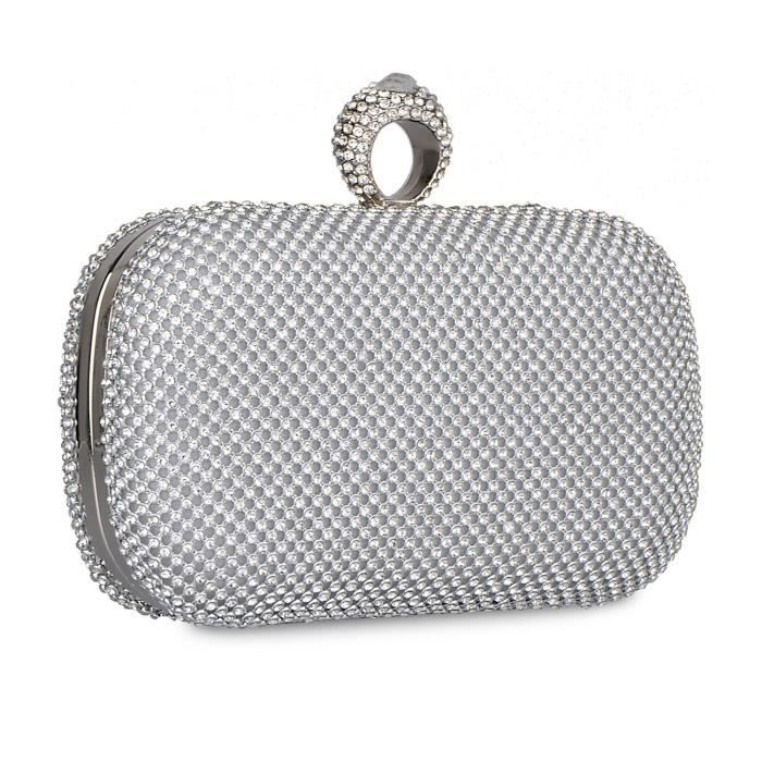 Shining Rhinestones Square Shape Evening Bag Purses With Hard Case Clutches H9FQV