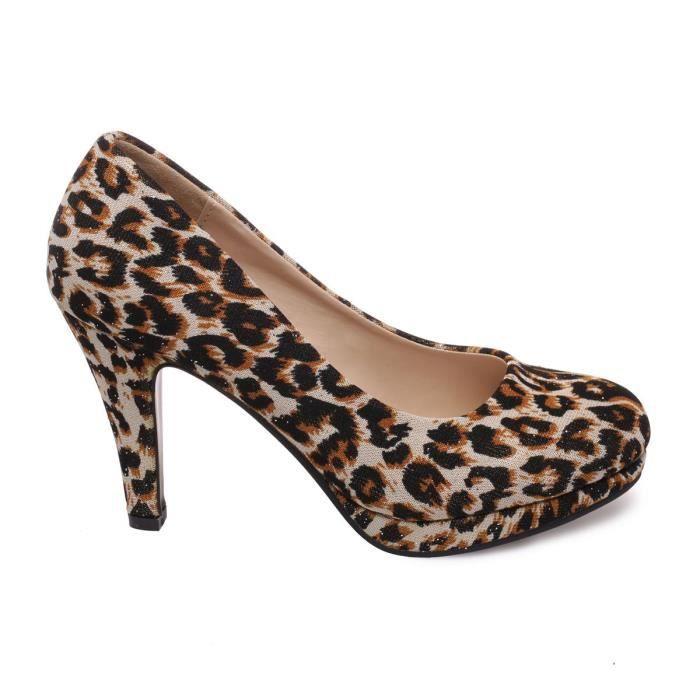 tissu Modeuse léopard Escarpins en La tnS01wqn