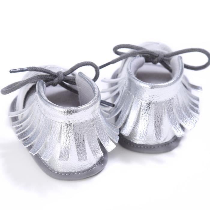 BOTTE Nouveau-né Filles Garçons Crib Chaussures Doux Semelle Anti-slip Bébé Sneakers Tassel Sandales@ArgentHM zVG0k