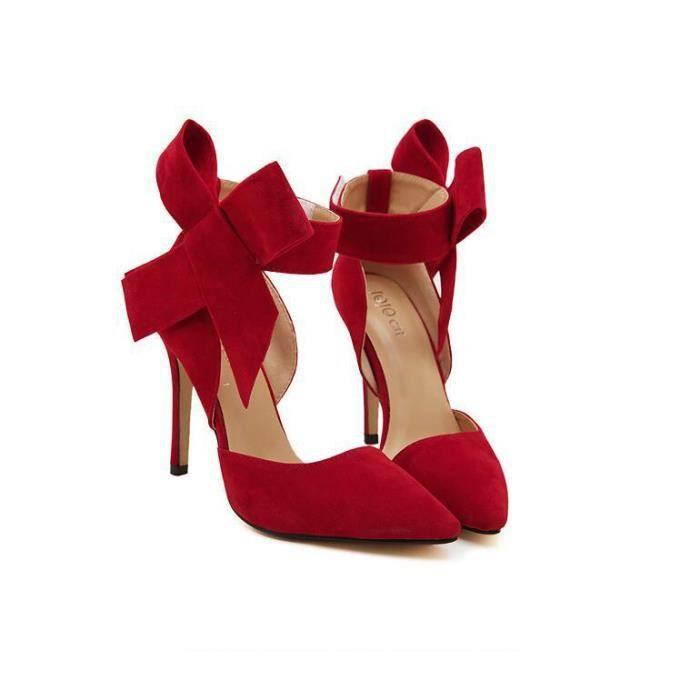 Escarpin à Talon Haut Chaussures à talons hauts pour femmes Sweet Big Bow Pompes Stiletto chaussures Chaussures à talon bout pointu