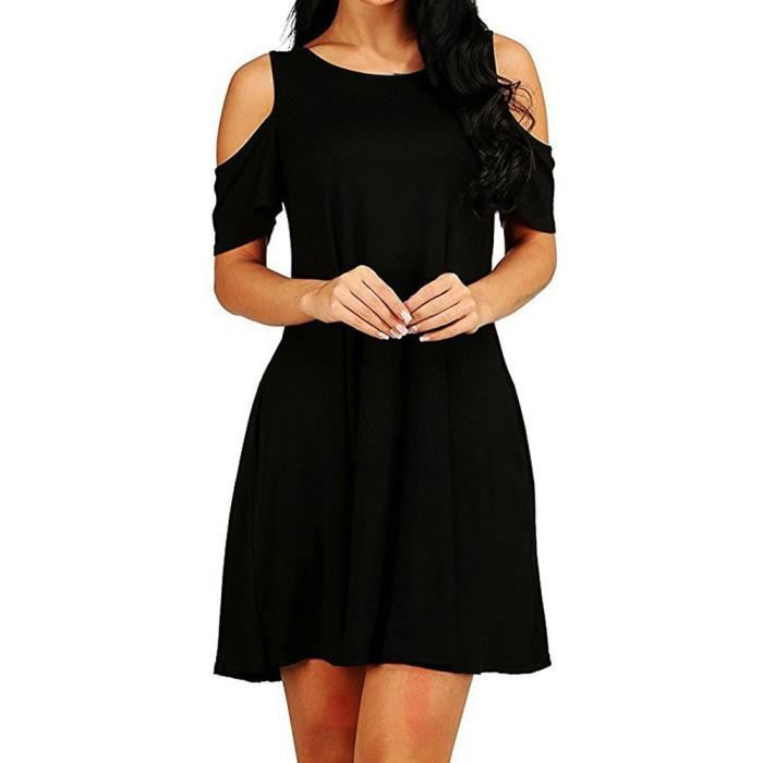 Napoulen®Mode été lâche solide mini robe hors-épaule décontracté pour femmes Noir LLL80311023BK
