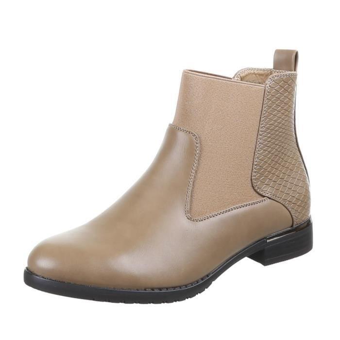 Chaussures femmes Bottine DOUBLÉ stretch bottes kaki