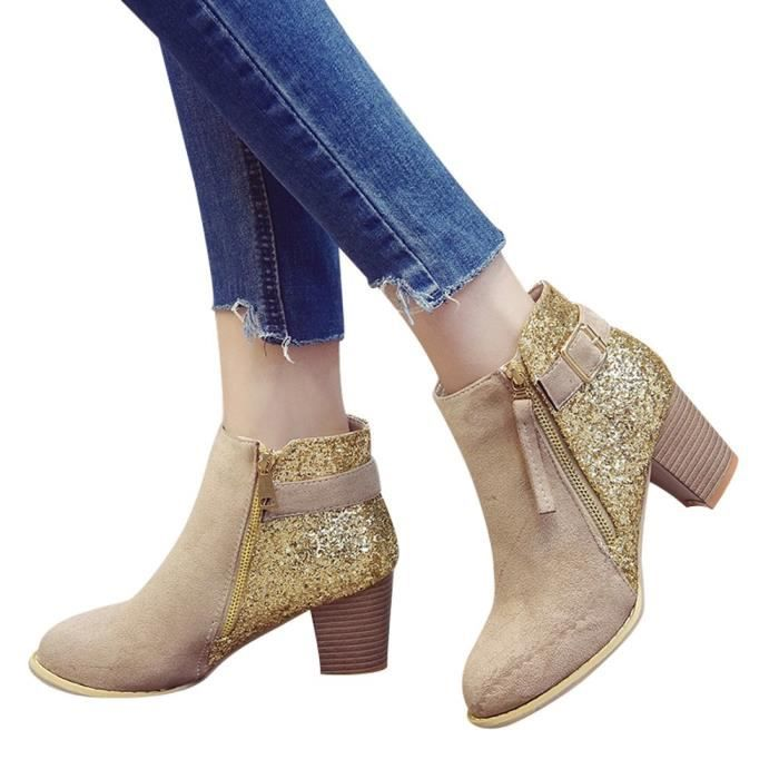 3696 Fashion Round Boots Kaki Zipper Femmes Mixed Side Ankle Thick Colors y High Toe qgCTqwHO
