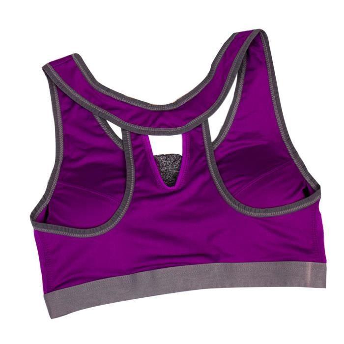 Top 2162 Yoga Workout Stretch Soutien gorge Matelassée Zipper Violet Femmes nk Sport Fitness Gym Courir wZq6pnHP