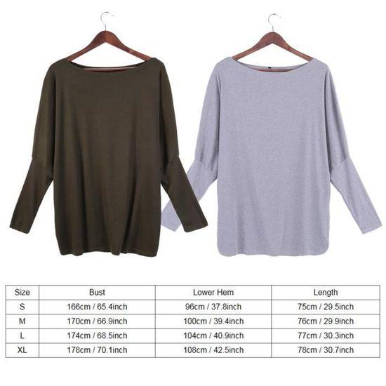 T-shirt à manches longues col rond pull-over de femmes --DQ FRANCE  vert-milieux - Achat   Vente t-shirt - Cdiscount f43b576e2156