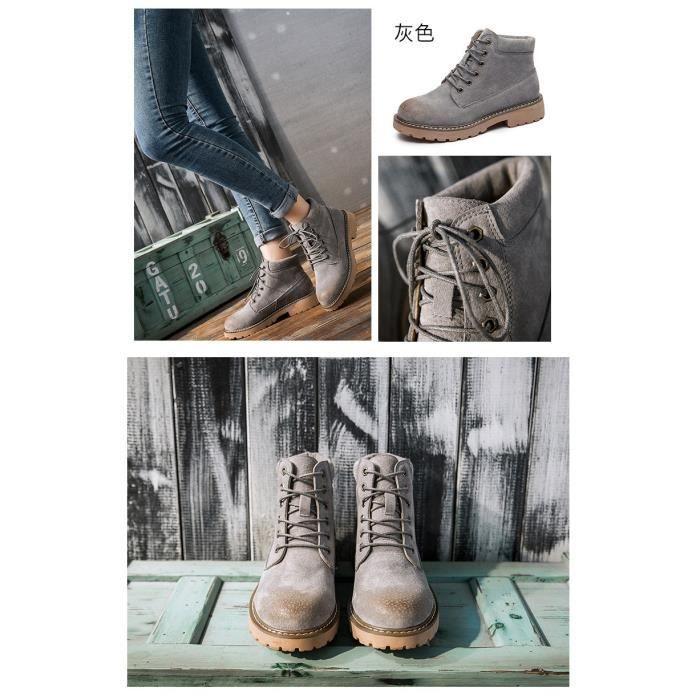 de nouveaux modèles de bottes Martin femmes tête ronde couleur unie bottes courtes bottes mat bottes européennes et
