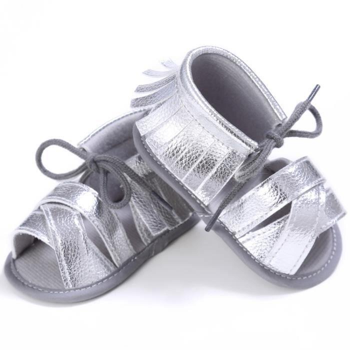BOTTE Nouveau-né Filles Garçons Crib Chaussures Doux Semelle Anti-slip Bébé Sneakers Paillettes Chaussures@ArgentHM aCPZdF