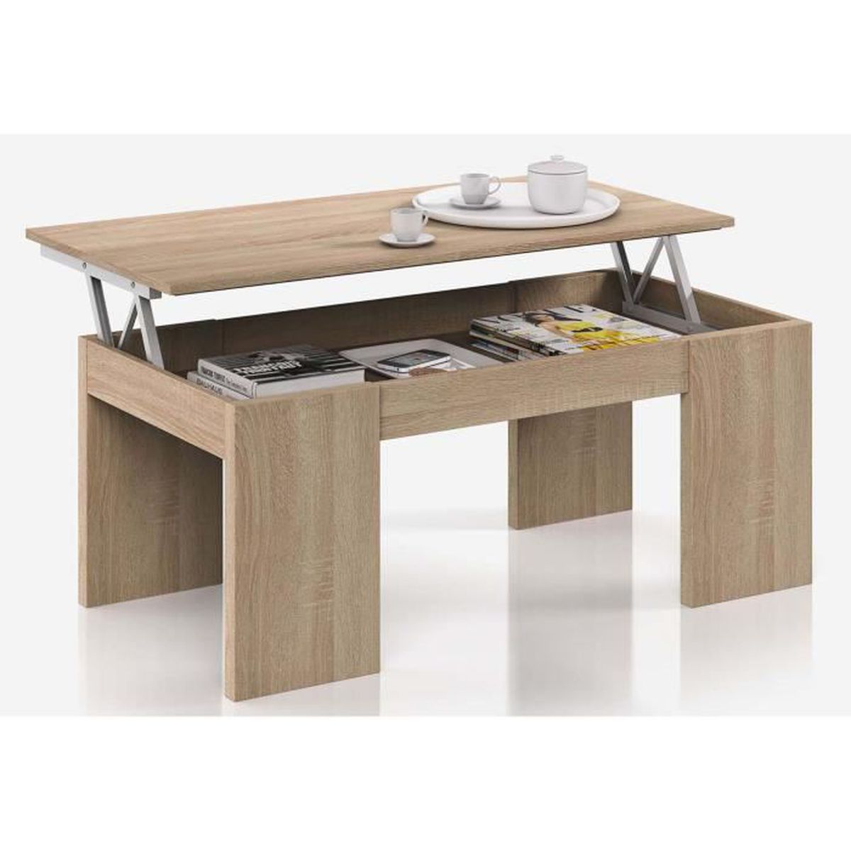 Table Basse Plateau Relevable Coloris Ch Ne Canadien