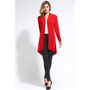 Gilet Femme Long Chaud Cardigan Automne Hiver R... Rouge Rouge ... a892e7581001