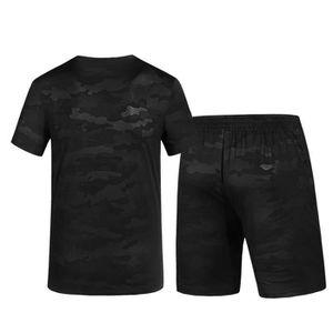 eb9d8510f3ada Deux Pièces Casual Slim Chemise à manches courtes imprimé hommes Top Blouse  Pantalons Sets Noir