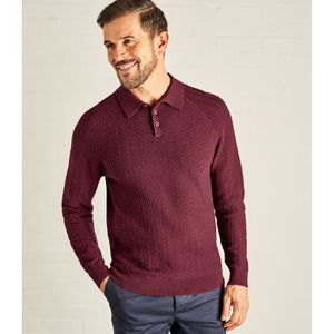 ff285beacce7 PULL WoolOvers Pull col polo à maille texturée Homme La