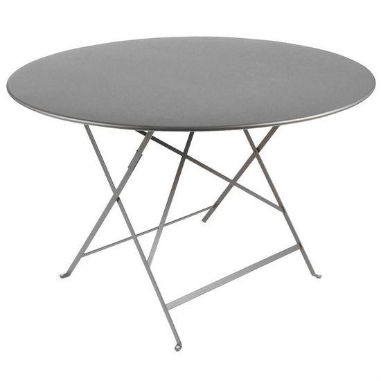 Table de jardin pliante metal Ronde Grise O90cm - Achat / Vente ...