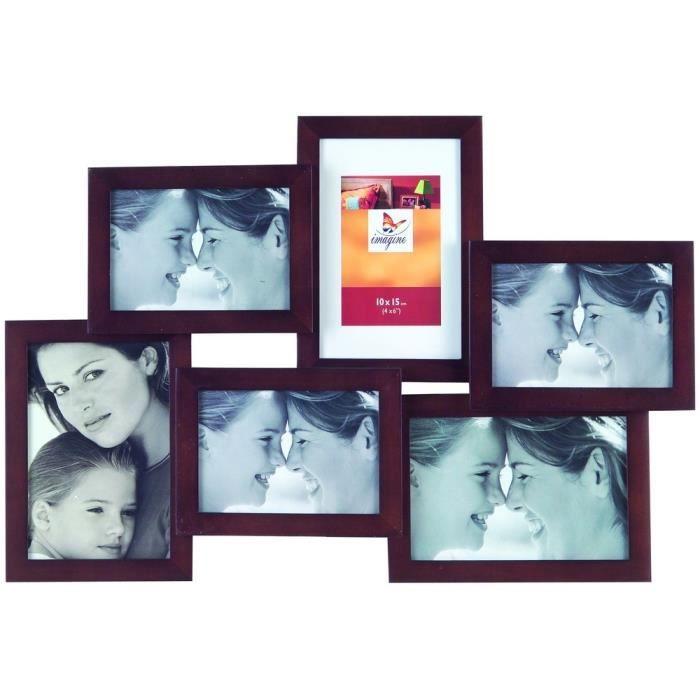 IMAGINE Cadre photo multivues wengé Lyra 3 photos format 10x15 cm + 3 photos format 9x13 cm