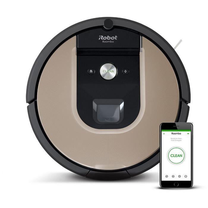 iRobot Roomba 974, Aspirateur robot connecté Wifi avec forte puissance d'aspiration, 2 brosses anti
