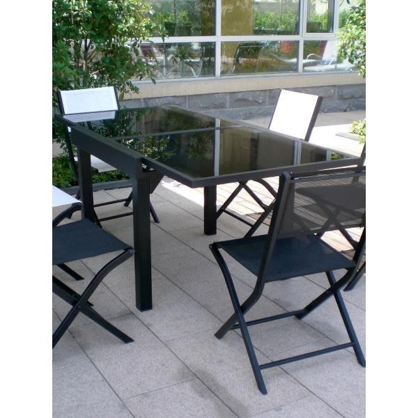 Table modulo noire 4 8 personnes achat vente table de jardin table modulo noire 4 8 for Table pliante 2 personnes
