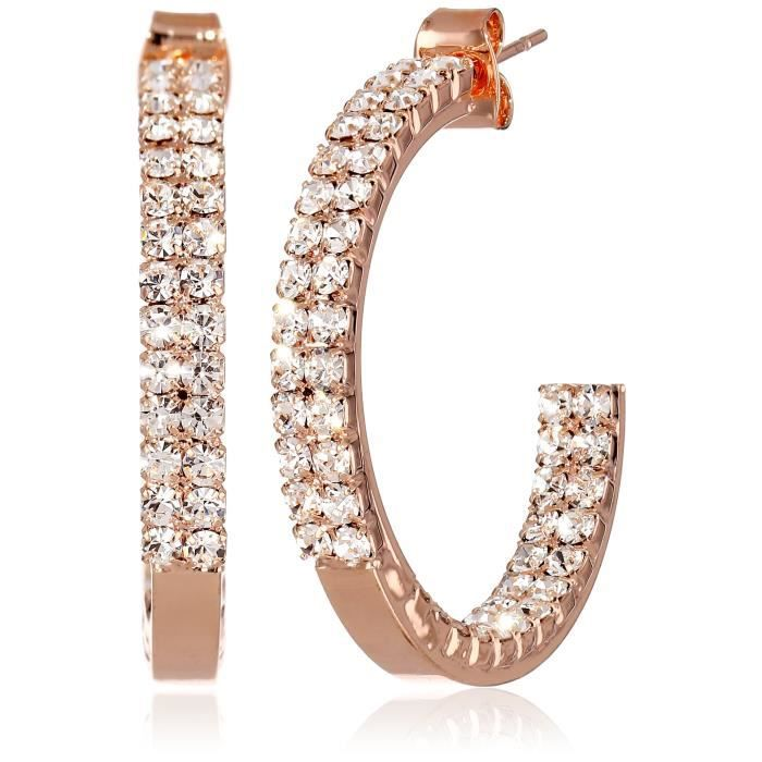 Crystal Set 30mm Plated Twin Row Inside Out Earrings IRLGO