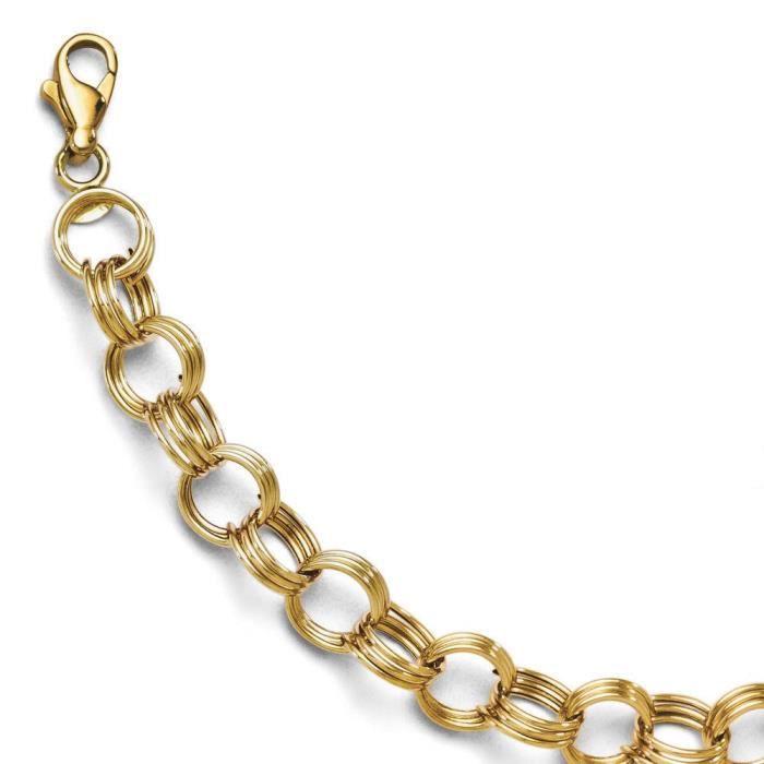 Or jaune 14 carats fantaisie lien Bracelet 7 Motif