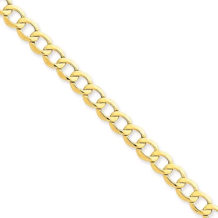14 carats 6 mm Semi-solide chaîne collier 20 pouces
