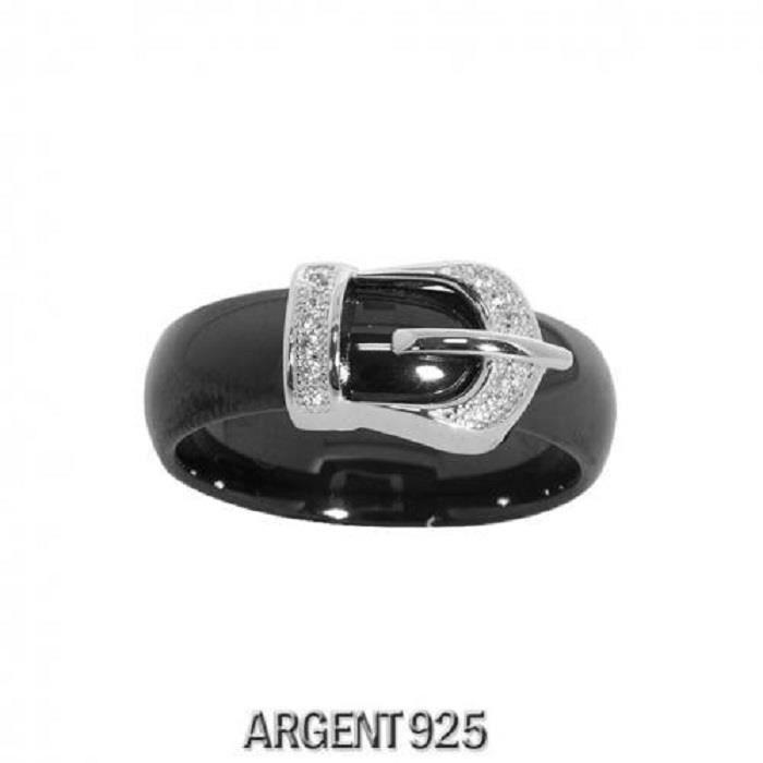 Bague Femme Anneau Boucle de Ceinture Oxyde de ZirconiumCéramique Noire Argent 925
