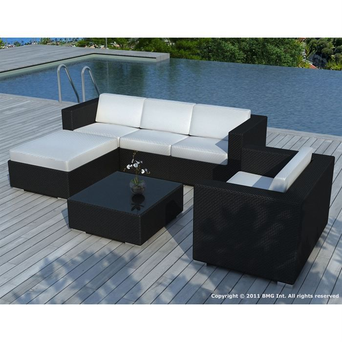 Salon de jardin Noire coussin Blanc - SD8201 - Achat / Vente salon ...