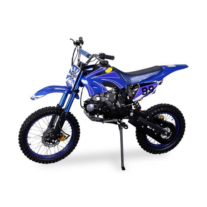 moto cross dirtbike enduro 4 temps pour jeunes 125cc 17 14 pouces bleu achat vente moto moto. Black Bedroom Furniture Sets. Home Design Ideas