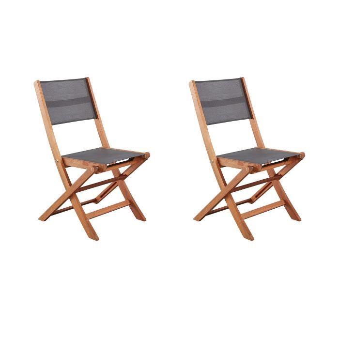 FAUTEUIL JARDIN  Lot de 2 chaises en bois d'acacia FSC et textilène