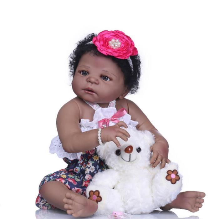 57 cm Full Body Silicone Reborn Bébé Poupée Jouet Noir Peau Nouveau-Né Fille  Princesse Toddler Bébés Poupée Enfant 32090208d6a