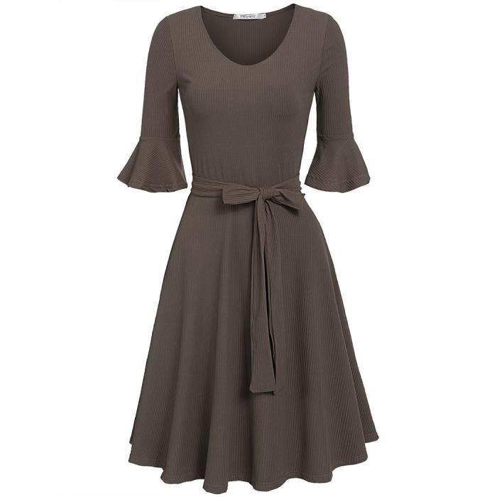 tricot robe avec ceinture femmes Casual v-cou Flare demi manchon ourlet plissé une ligne solide élastique en