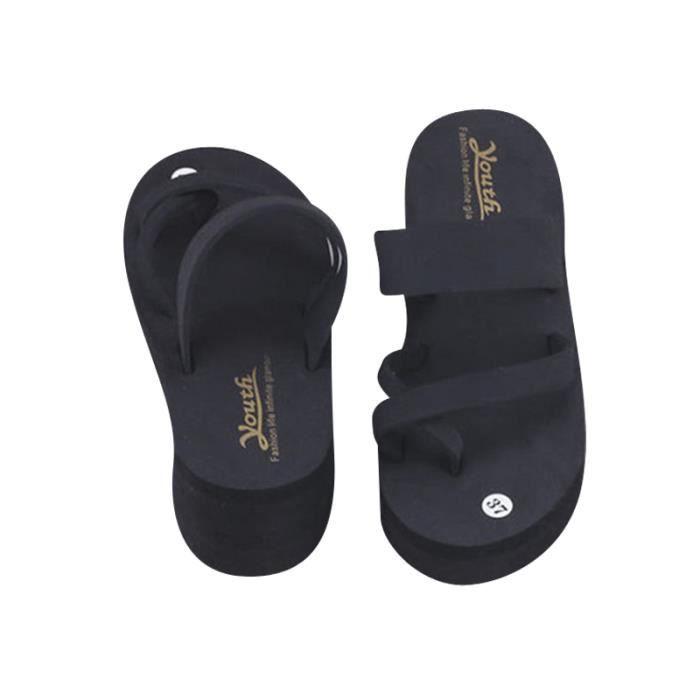 Plage Chaussures Haute Forme Femmes D'été Pantoufles Plage Épais De Wedge Hauts Talons Plate Flops Flip Dames Sandales vnX8Cxan
