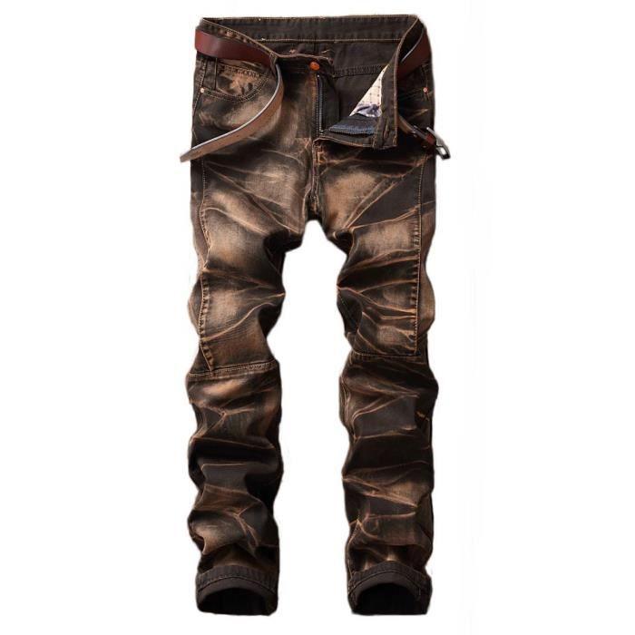 Jeans Fashion Homme Slim Effet Usé Retro Jeans 5 Poches Vetement Tendance efc1ae44442