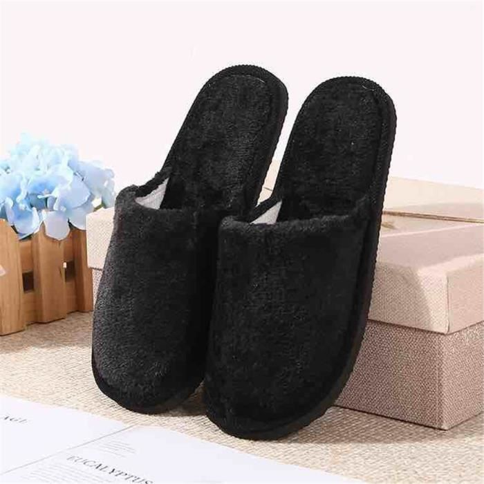Bonbon Chaussons Qualité Supérieure Confortable Coton Chaussure Garde Au Chaud Classique Hiver Chausson Femme Simple Durable 40-45