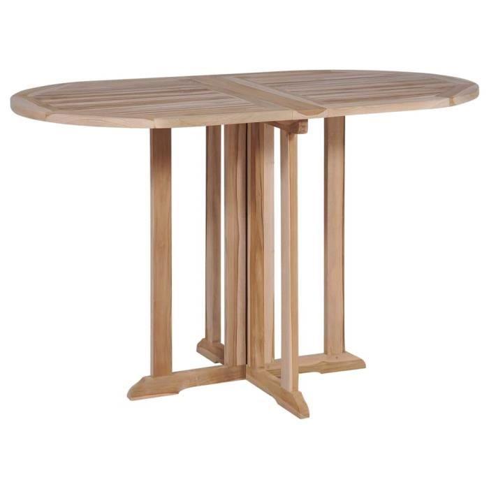 Table de salle à manger pliante Teck massif 120x70x75 cm