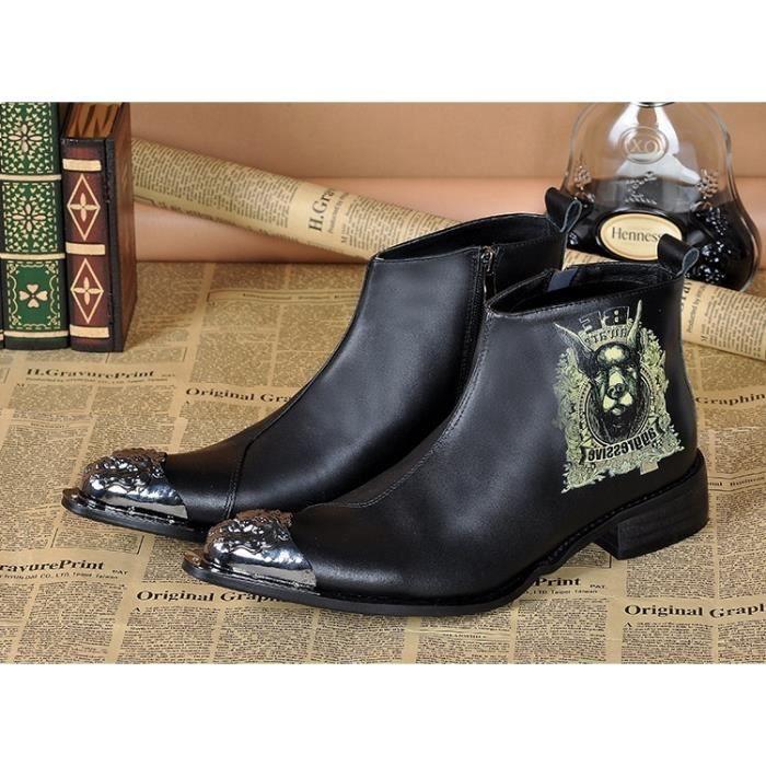 italienne formelles en cuir véritable élégant cheville Bottes Chaussures cowboy Mode homme sexy Punk Spikes Bottes