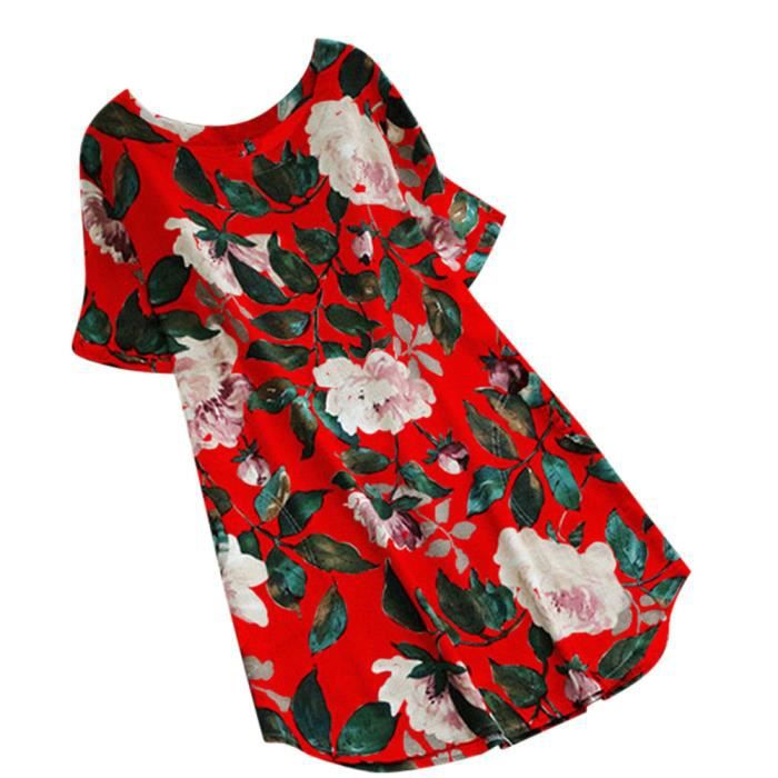Print Rouge Mini Manches Robe Floral Femmes Lady Plus Courtes Lxh80514792rd Party zf1266 Summer Taille 5qw7p6
