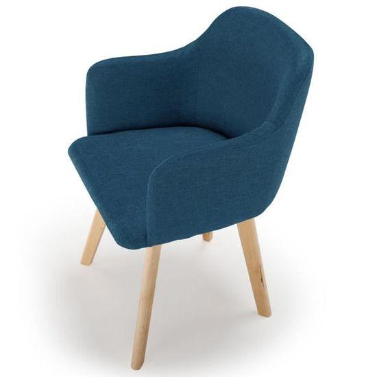 73ae29b5d678ca Chaise style scandinave Candy Tissu Bleu pétrole - Achat   Vente chaise Bleu  - Soldes  dès le 9 janvier ! Cdiscount