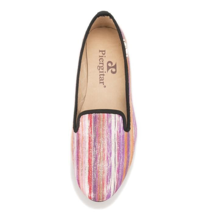 Marque Nouveau spéciales Couleurs mélangées Tissus main Femmes Chaussures avec Flats Casual Charme Métal femmes Mocassins ZxCse