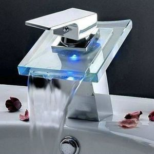 ROBINETTERIE SDB LED 3 couleurs Waterfall verre bec robinet bassin
