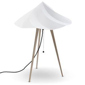 LAMPE A POSER CHANTILLY-Lampe à poser Trépied Bois H65cm gris Mo