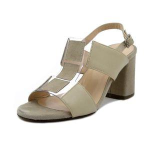 e1d03a0bc36f4 SANDALE - NU-PIEDS Sandale nu-pieds pour femme, cuir et daim beige