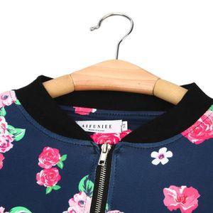 Manteau Veste Fleur Imprimer Loisirs Dames Zipper Sport Bomber Up f8qwv4x
