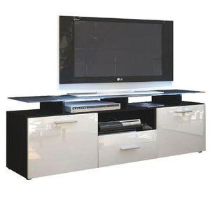 MEUBLE TV Meuble tv noir mat  et blanc laqué avec led 146 cm