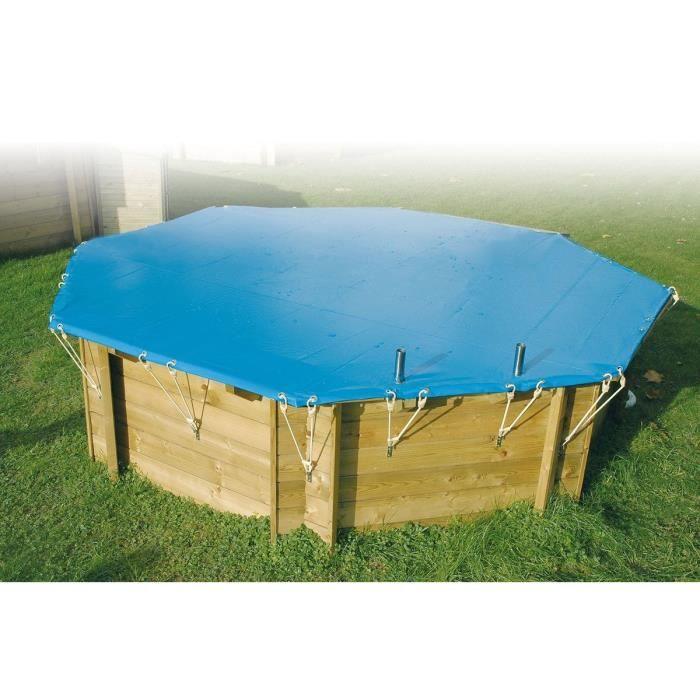 Bâche d'hiver et sécurité piscine bois 410 cm