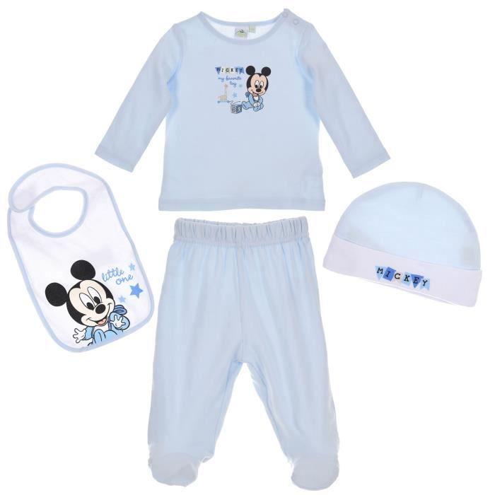 Set t-shirt pantalon bavoir bonnet bébé Garçon MICKEY - 100% coton Bleu Disney baby
