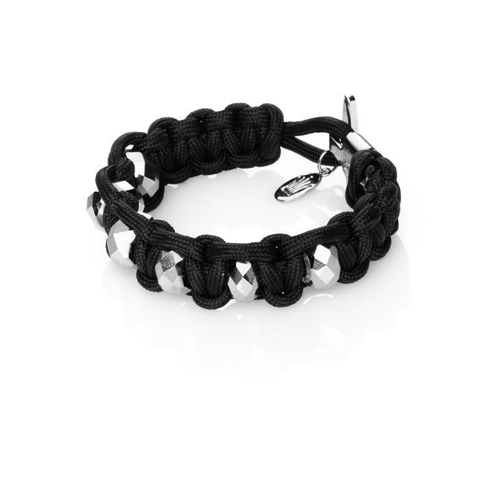 Bracelet Deep Within - Contient : fil nylon - perles en verre - fermoir - explications - En macramé noirKIT BIJOUX