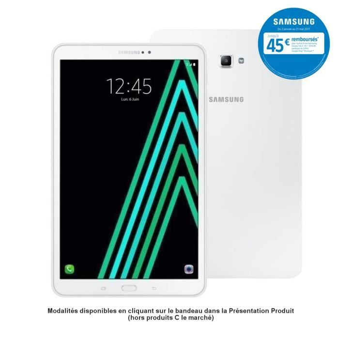 Samsung Galaxy Tab A6 - SM-T585NZWAXEF - 10,1'' WUXGA (1920 x 1200) - 2Go RAM - Android 6.0 - Octo Core - ROM 16Go - 4G/WiFi