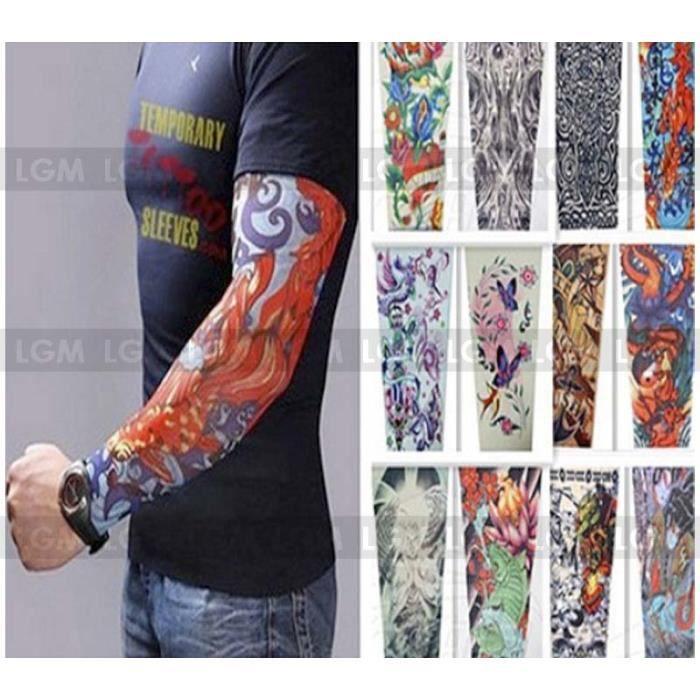 6 x manches faux tatouage en nylon manchettes bras design al atoires tribal punk achat vente. Black Bedroom Furniture Sets. Home Design Ideas