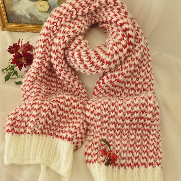 Mosaïque cerise crochet Rayé Tricoter Écharpe pour femmes 210   40cm rouge bbe6026126f