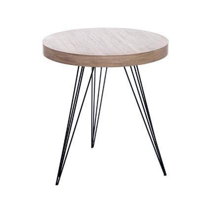 table basse ronde 55 cm en bois et pieds m tal coloris bois achat vente table basse table. Black Bedroom Furniture Sets. Home Design Ideas
