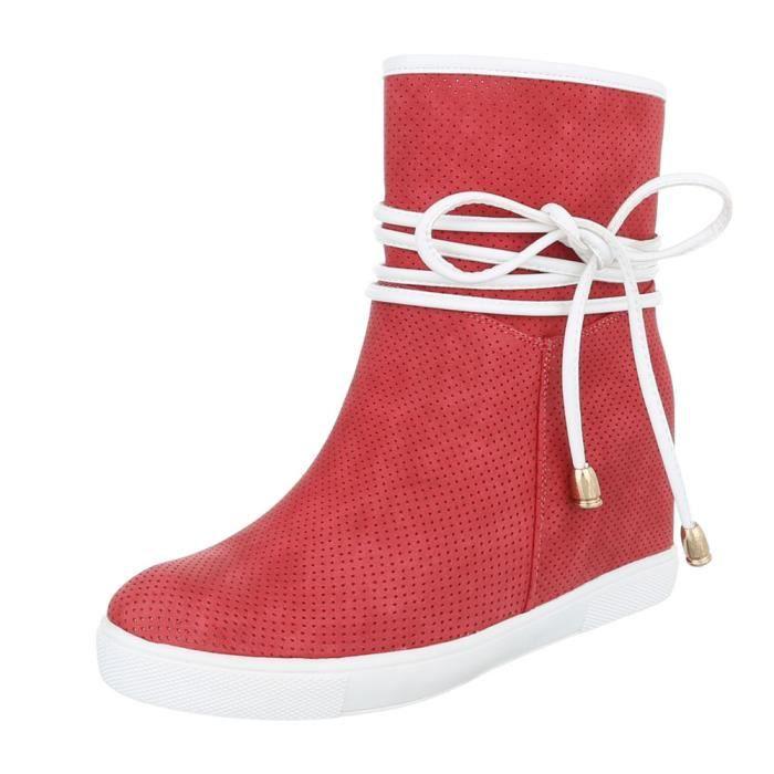 Femme chaussures bottillon perforéWedges bottes rouge 41