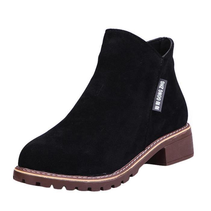 EOZY Bottillons Femme Fille Bottines et Velours Bottes Basses Noir Mode Boots Chaud Hiver